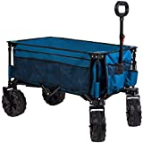 Timber Ridge Folding Wagon Collapsible Utility Outdoor Cart for Camping/Garden/Beach/All Terrain, Side Bag & Cup Holders, Blue
