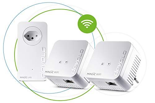 Devolo Magic 1 WiFi mini: compacte multiroomkit voor betrouwbare overstropende wifi, eenvoudig via stroomleiding door muren en plafonds, mesh, G.hn-technologie, gasten-wifi, Zwitserse stekker