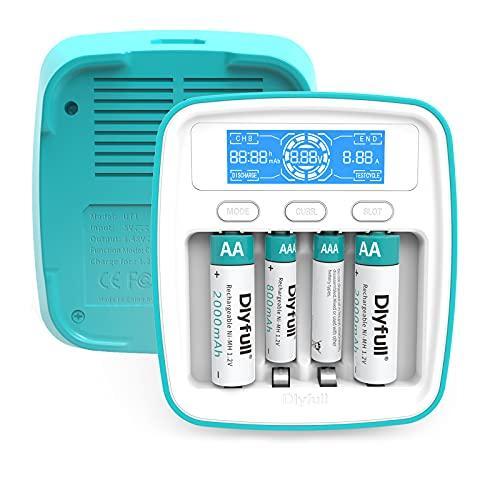 Dlyfull UT1 Akku Ladegerät AA AAA, Batterieladegerät Schnell Akkuladegerät für 4XAA/AAA NI-Mh Akkus mit 4 Modi: Aufladen, Entladen, Batteriekapazität Testen& Auffrischen - mit LCD Display