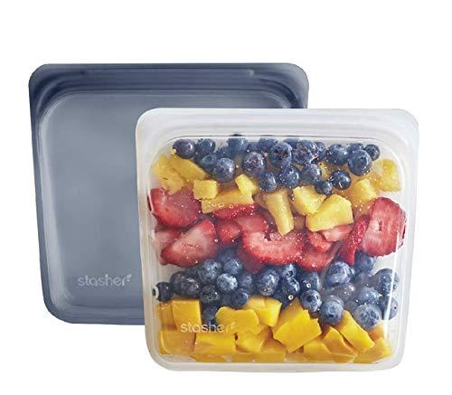 Stasher Platinum Silicone Food Grade Reusable Storage Bag, Clear + Grey (Sandwich Bag, 2 Set) | Reduce Single-Use Plastic | Cook, Store, or Freeze | Leakproof, Dishwasher-Safe, Eco-friendly |