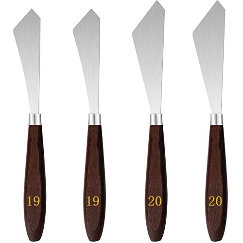 4 Pieces Painting Knife Set, Stainless Steel Artist Palette Knife Painting Mixing Scraper Pallet Knife Paint Spatula, Painting Knife Oil Paint Knife with Wood Handle for Oil Painting Art Tool