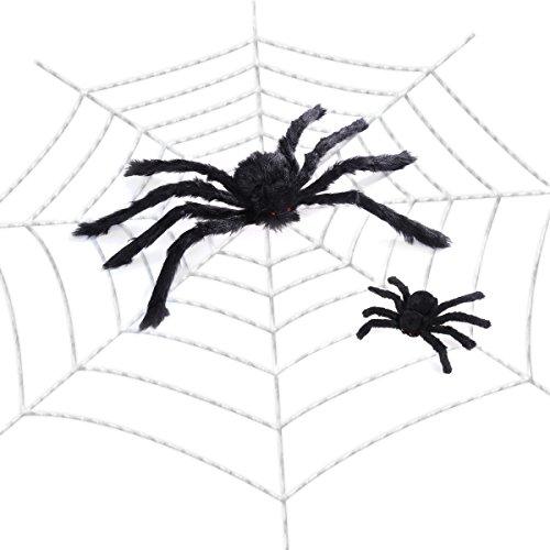 Amosfun Spinnennetz Dekorationen Indoor Outdoor Spuk Spinne Gurtband Spukhaus Dekor Halloween Dekoration (118Zoll Spider Web + 11.8Zoll Black Spider + 23.6cm Black Spider)