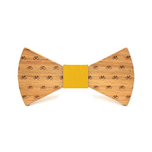 Territorial Pajarita de madera Bike. Colección de moda hombre: Confeccionada en España Wood. Línea boda y eventos. Regalo elegante y original. Nudo a elegir