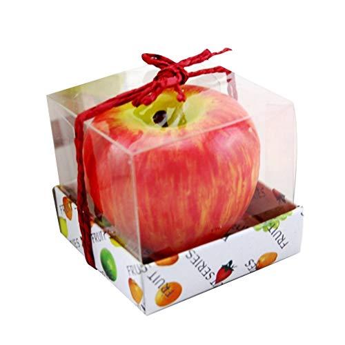 HehiFRlark Simulación de Forma de Manzana Vela perfumada Artesanal Regalos de celebración de cumpleaños Manzana roja roja M