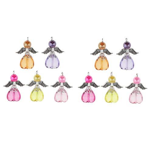 Colcolo 10 Piezas Coloridos Colgantes de Hadas de ángel de Hadas Vintage Cuentas de Perlas Facetadas