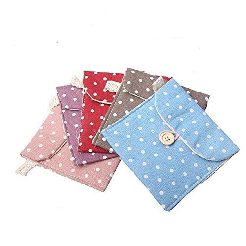 SHOP ONLINE 2pcs Cotton Pouch Purse Pad Holder Handbag Girls Gift Polka Dot Sanitary Napkin Bags (Colors May Vary)