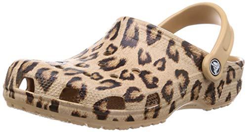 Crocs unisex adult Classic Animal Print | Zebra and Leopard Shoes Clog, Leopard/Gold, 6 Women 4 Men US