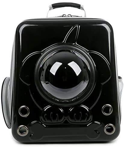 zmayastar ペット用キャリーリュック キャリーケース キャリーバッグ メッシュ ドーム 通気性抜群 多機能 手提げ お出かけ便利 旅行用 猫にも 犬にも ゴールド ブラック ZM-CWB-031 (ブラック)
