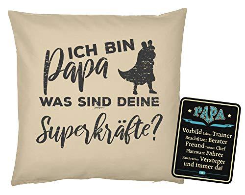 Mega-shirt geschenk voor papa kussensloop met metalen bord Set Ich Bin Papa was je Superkräften & Papa voorbeeld kussen vader