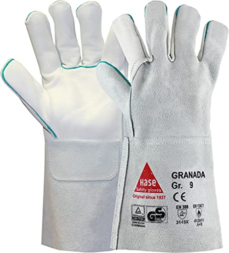 strongAnt GRANADA-largo - guantes de soldar profesionales guantes de trabajo Guantes de seguridad para soldadores, también como guantes de parrilla - piel de vacuno TÜV GS - gris