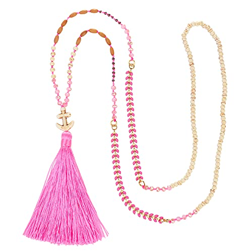 KELITCH Collares con Colgante De Ancla para Mujer Borla Larga Collar De Cuentas De Cristal Collar De Hebra Joyería Hecha A Mano (3B)