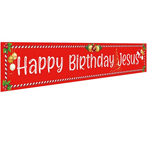 Ushinemi Happy Birthday Jesus Banner Christmas Party Decorations for Outdoor Outside Yard Decor Sign, Large Size: 9.8X1.6 Fee