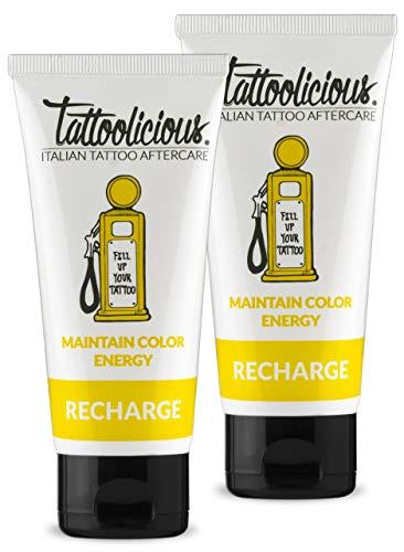 Tattoolicious DOUBLE RECHARGE – La Crème d'entretien pour tatouages, revitalisante, spécifique, avec des ingrédients actifs biologiques, 200 ml Double Pack (2 tubes de 100 ml)