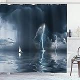 Sosun Cortina de Ducha para velero, Yate en el océano se Acerca a una tormenta con Estampado de Lluvia y Perno, Juego de decoración de baño de Tela de Tela con Ganchos, Gris Oscuro