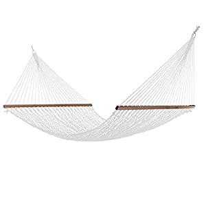 Elegant Living Large 12FT DuraCord Rope Hammock, Quick Dry Rope Hammock with Double Size Solid Wood Spreader Bar Outdoor Patio Yard Poolside Hammock, 2 Person 450 Pound Capacity (Brown)