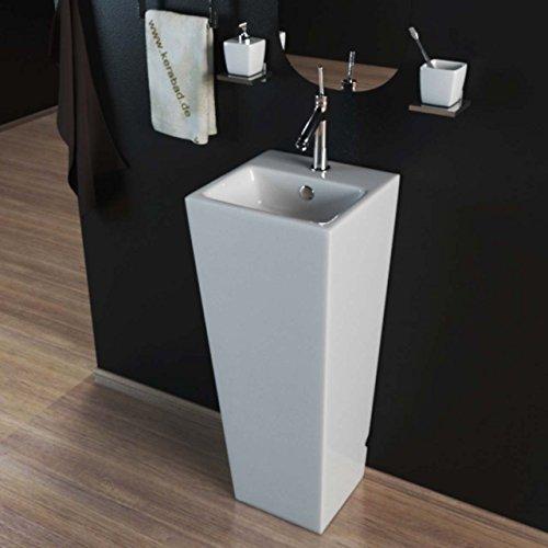 KERABAD Design Keramik Standwaschbecken Waschtisch Waschsäule Säule Standwaschtisch Eckig Gäste WC Becken KBE503