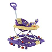 2-in-1 Design: Baby Walker can easily convert into a rocker Press-Down Vacuum stoppers allow parent to easily stop the walker from moving 3-level height adjustment with safety lock, to adjust walker according to baby's height Detachable Toy Tray with...