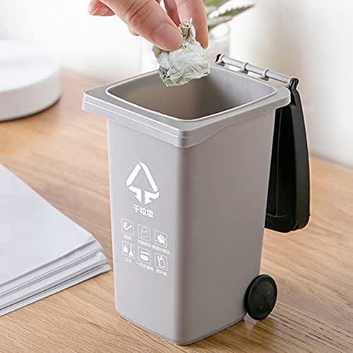 Qingsi - Cubo de basura con tapa para papelería, clasificación de basura para niños pequeños y niñas