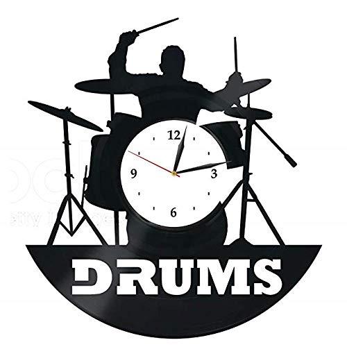 Drums Vinyl Wanduhr Für Jugendliche Mädchen Jungen Dekoration Für Küche Wohnzimmer Beatles Musikinstrumente Schlagzeug Rockband Schlagzeuger