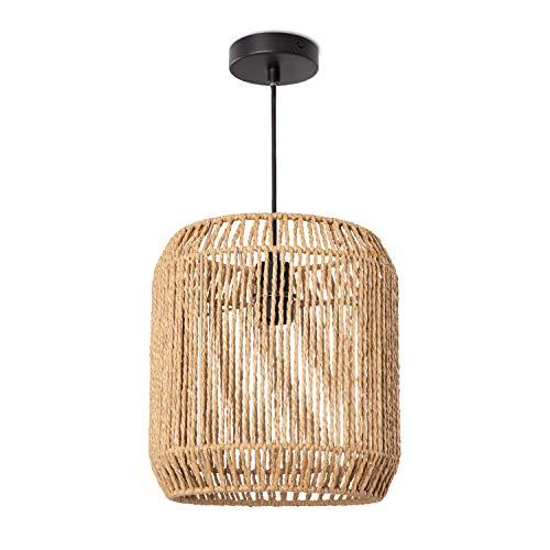 Paco Home Hängelampe LED Pendellampe E27, Rattan Optik Boho Korb Wohnzimmer Esszimmer Flur, Lampenschirm:Natur (Ø28 cm), Lampentyp:Pendelleuchte Schwarz
