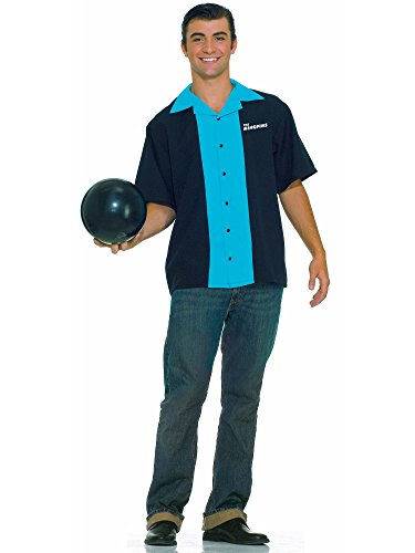 Forum Flirtin With The 50S King Pins Bowling Shirt, Black/Blue, One Size Costume