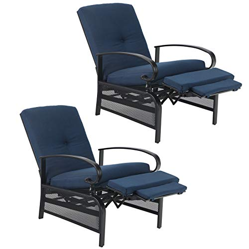 PHI VILLA Patio Lounge Chairs Outdoor Metal Relaxing Recliner Sofa Chair with 5' Removable Cushions, Set of 2, Blue