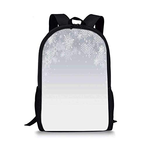 AOOEDM Winter Decorations Stylish School Bag,Christmas Back with Snowflake Figures and Fairy Stars Lights Magic Design for Boys,11''L x 5''W x 17''H