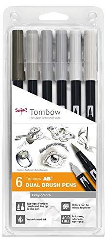 Tombow ABT-6P-6 ABT Dual Brush Pen grigi a base d'acqua con due punte, colore grigio, 6 pezzi