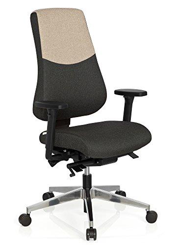 hjh OFFICE 608826 Profi Bürostuhl PRO-TEC 600 Stoff Grau/Beige Drehstuhl ergonomisch, Rückenlehne & Armlehnen verstellbar