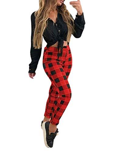 Minetom Mujer Pantalones Ajustados A Cuadros Elegante Vintage Slim Fit Básicos Casual Pantalón Moda Skinny Pants Rojo 4X-Large