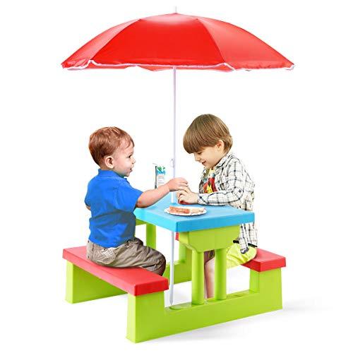 Goplus Set Mobile per Bambini da Giardino Esterno Set Tavolo e Panche da da Picnic BBQ con Ombrellone Pieghevole