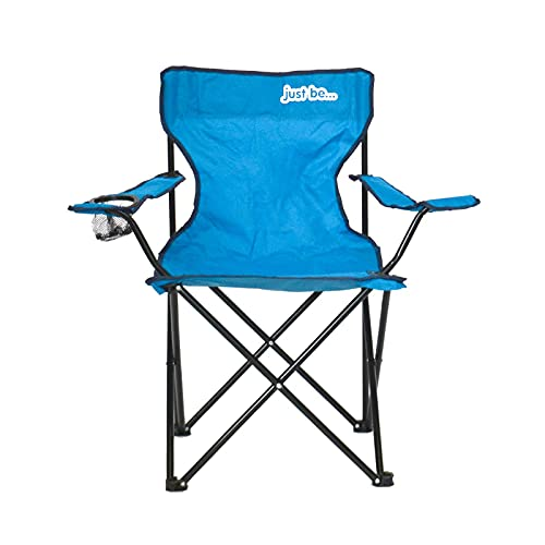 just be...…® Sedia da Campeggio Pieghevole - Blu con Bordi Neri