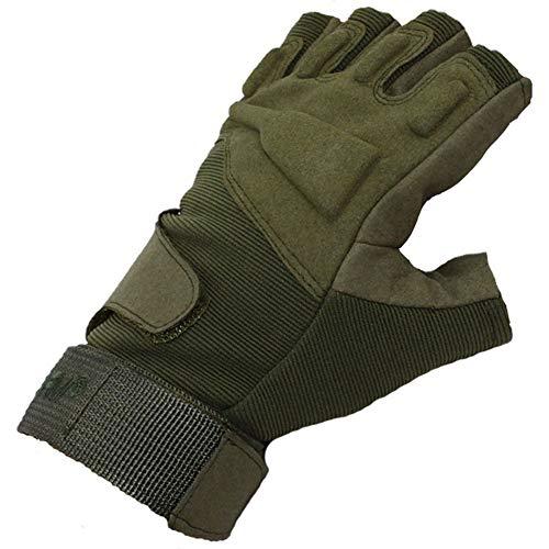 LIBINFAN Handschuhe Black Hawk Half Finger Outdoor Field Game Halbhandschuhe Parkour Laufhandschuhe (Schwarz, Grün, Sand) (Farbe : Grün, größe : XL)