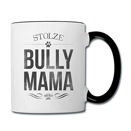 Stolze Bully Mama Bulldogge Frauchen Tasse zweifarbig, Weiß/Schwarz