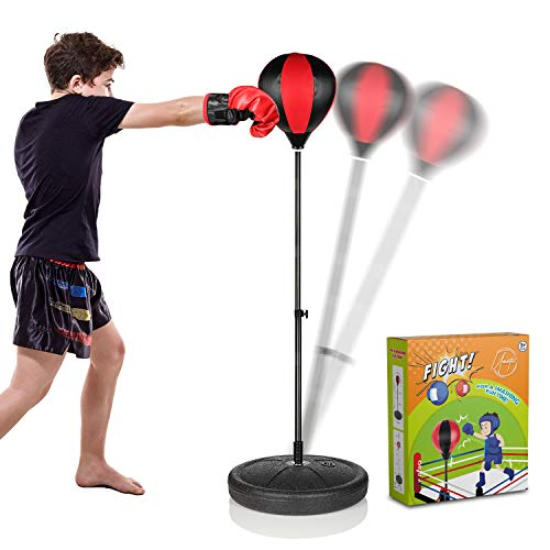 Uninetic Punching Bag for Kids - Portable Fitness Set with Inflatable Ball and Boxing Gloves - Adjustable Stand with Weighted Base, Hand Pump - Exercise, Stress Relief, Reflex Training, 3-10
