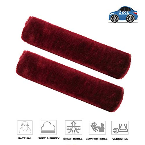 Fochutech 2Pcs Car Soft Plush Seat Belt Shoulder Pad Strap Cover Adjuster Protector Comfortable Driving (Wine red)