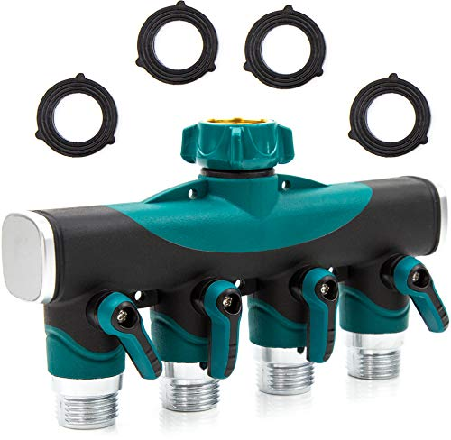 DBR Tech 4 Way Garden Hose Splitter for Outdoor Lawn and Gardening Hoses, Heavy Duty Metal Faucet Attachment, Leak Resistant Threading with Shut Off Valves, Four Way Spigot Adapter, Green