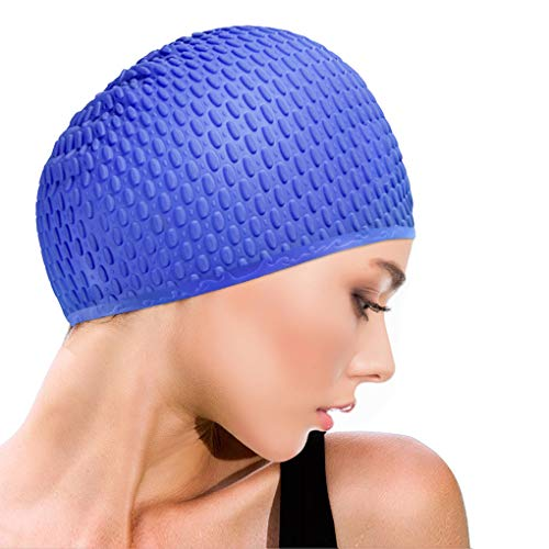 Idefair Swimming Caps, Silicone Swim Cap Anti-Slip Swimming Hats Waterproof Bathing Cap for Unisex Adult Women Men, Comfortable Fit for Long Hair and Short Hair