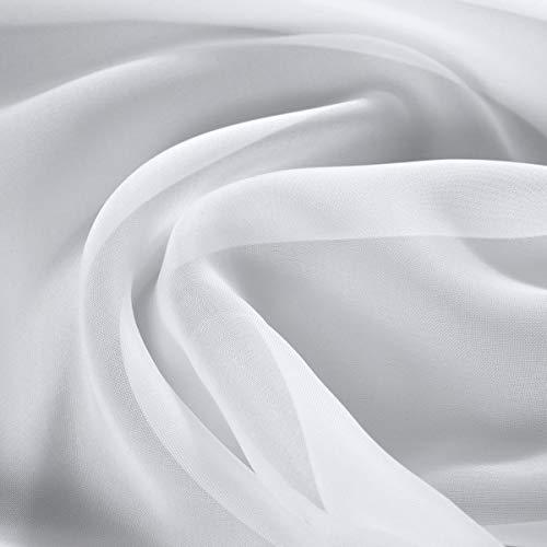 englisch dekor Gardinenstoff schwer entflammbar Uni weiß Store hochwertiger Stoff als Meterware, transparent, mit Beschwerungsband