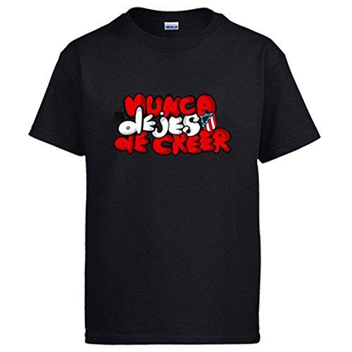 Diver Camisetas Camiseta Atlético de Madrid Letras Nunca Dejes de Creer - Negro, XL