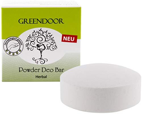 NEU Greendoor Powder Deo Bar herbal 50g, festes Deo Stück vegan ohne Plastik-Verpackung, Deodorant ohne Aluminium, Kräuter-Duft unisex für Frauen und Männer, mit Bio Babassu, natürlich, schmilzt nicht