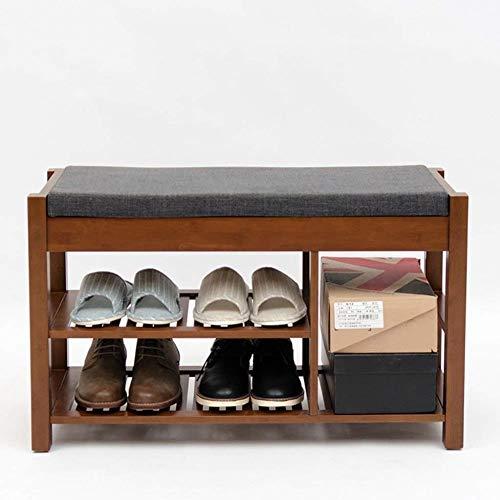 B-fengliu Zapatero Multifuncional Europeos sólido Simple de Madera Zapatos Can y heces Salón Dormitorio Dormitorio Estante de Almacenamiento Taburete de Almacenamiento 55,5 * 48,5 * 30 Cm (Size : A)