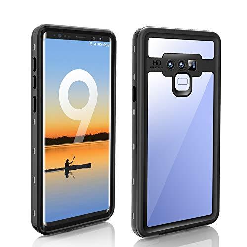 Aralinda Cubierta sellada bajo el agua IP68 certificada a prueba de polvo a prueba de nieve a prueba de golpes impermeable caso compatible con Samsung Galaxy Note 9 (Color: Negro)