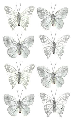 MIK Funshopping Deko-Schmetterlinge mit Clip zur farbenfrohen Dekoration (8-teiliges Set, grau)