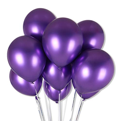 Premium Assorted Color Metallic Latex Balloons, 50pcs 12 inch Quality Helium Balloons, for Wedding Bridal Birthday Engagement Party Decorations, by RIGHT+LEFT (Purple)