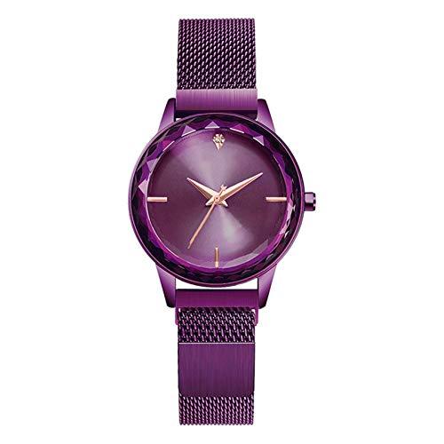 Rose Oro Pulsera de las mujeres Reloj de acero inoxidable de las mujeres Dial Pequeño Dial Simple Muñeca Reloj de la muñeca Impermeable Vestido de mujer Reloj Mujer Star Star Reloj Lazy Reloj de imán