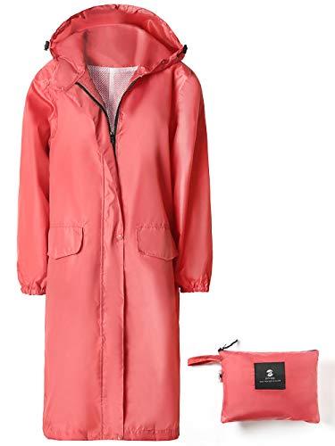 SaphiRose Womens Long Hooded Rain Jacket Waterproof Lightweight Raincoat Windbreaker Pink X-Large