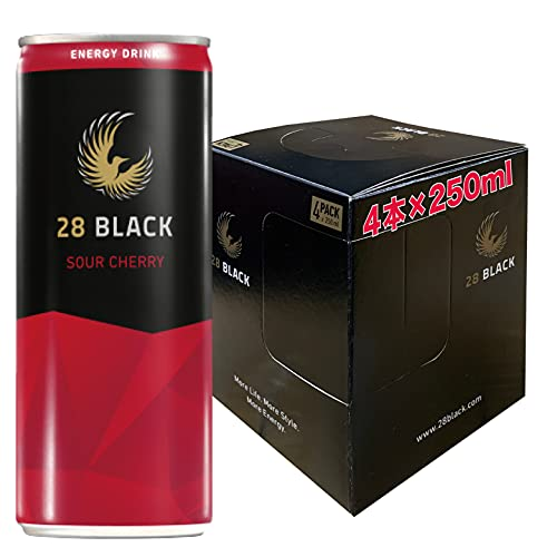 28 BLACK SOUR CHERRY | 静かなるエナジィ (サワーチェリー, 4本パッケージ) エナジードリンク