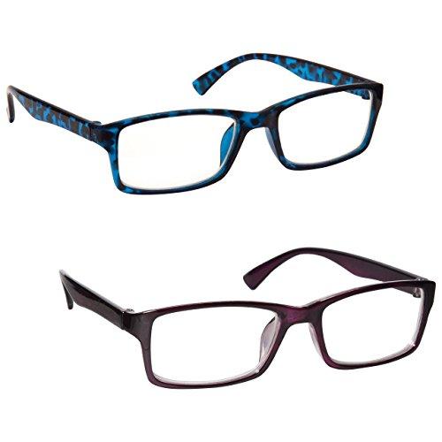 Uv Reader Gafas De Lectura Azul Carey Y Púrpura Lectores Valor Pack 2 Hombres Mujeres Uvr2092Bl_P...