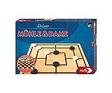 noris 606108012 - Deluxe Mühle und Dame, der beliebte Spieleklassiker mit doppelseitigem Spielplan und Holzfiguren, ab 6 Jahren